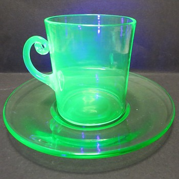 Uranium Glass Cup and Saucer - Glassware