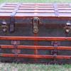 "Antique M. Langmuir Canada Narrow Slat 32"" Flat Trunk."
