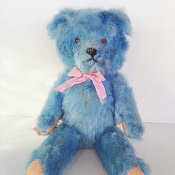 Who made this blue vintage teddy bear?