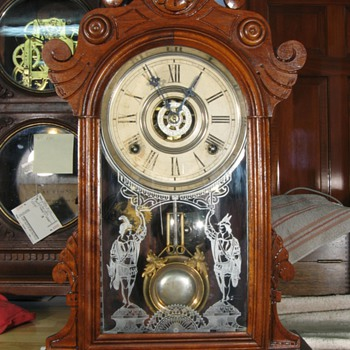 "Gilbert ""Parole"" Walnut Case 8-Day Shelf Clock, 1880s - Clocks"