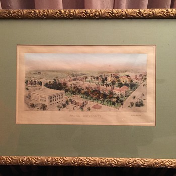 Historic Brown University Old Frame Watercolor Print Looks like  plate Print Unknow Year - Posters and Prints