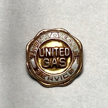 Early 50s-60s United Gas 20 Years Service Gold Plated Pin - Petroliana