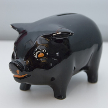 1930's Black Ceramic Piggy Bank - Art Deco