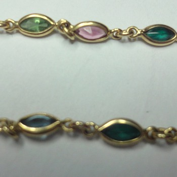 18K yellow gold different gemstones bracelet - Fine Jewelry