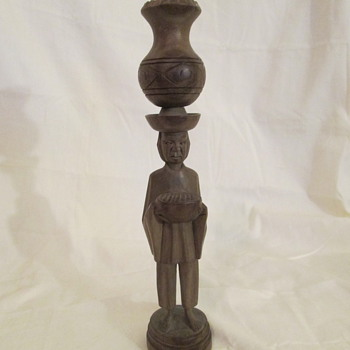 Hand Carved Man of Unknown Orgin Candlestick holder