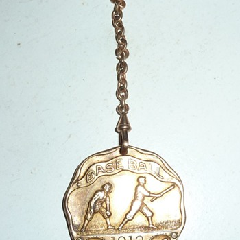 Vintage 1912  ingraved Baseball Fob