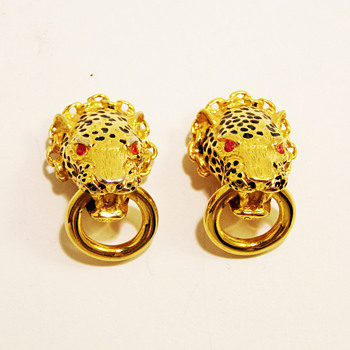 """Vintage Franklin Mint """"Duchess of Windsor"""" Leopard Earrings"""