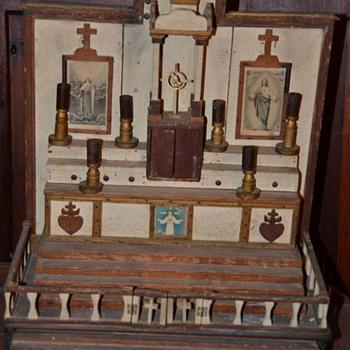 Southern Antique Folk Art Hand Carved Wooden Religious Altar Cypress?  - Folk Art