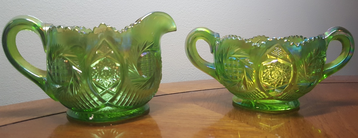 Green Carnival Glass Sugar And Creamer Set Collectors Weekly