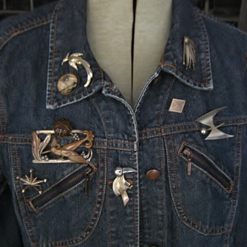 Silver, bronze, butterfly, pebble, military & other pins on jean jacket - Costume Jewelry