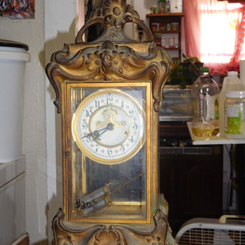 Cast Iron Art Nouveau Mantel Clock - Clocks