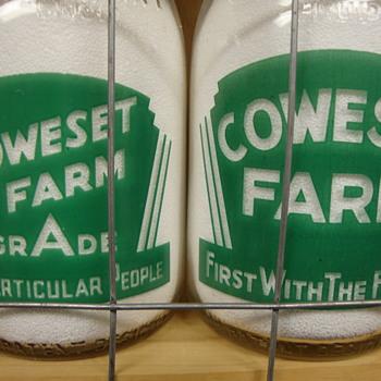 2 COWESET FARM BABY TOP QUART MILK BOTTLES...(WEST MANSFIELD, MASS.) - Bottles