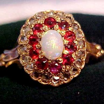 Victorian Diamonds, Rubies, Opal Gold Ring - Fine Jewelry
