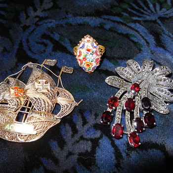 Micro Mosaic Ring * Marcasite and Garnet Brooch * Spanish Gallian Brooch * Mexican Thick Billed Parrots - Costume Jewelry