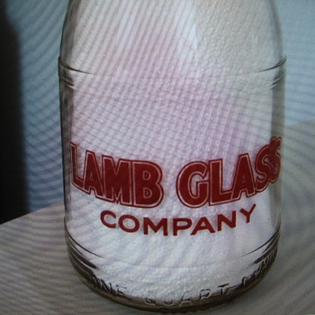 SALESMAN SAMPLE QUART MILK BOTTLE....LAMB GLASS COMPANY - Bottles