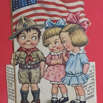 """Antique Patriotic """"The Hero of the Day"""" Valentine Card 1914-1918 - Advertising"""
