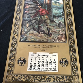 1933 US tire company wall Calendar with hunting picture  - Petroliana
