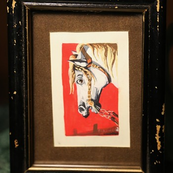 Woodblock Print of a White Horse's Head - Fine Art