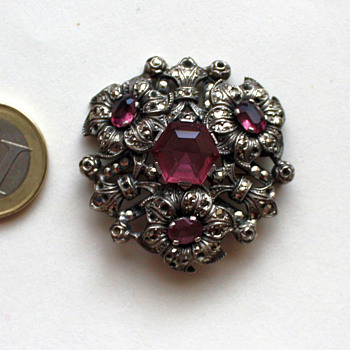 Old glass + marcasite brooch, 1930s Czechoslovakia?