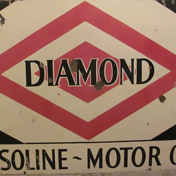 """DIAMOND""  ""GASOLINE~OIL""  PORCELAIN STATION SIGN - Petroliana"