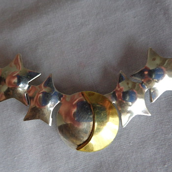 Mexican Silver Pin with Stars and Moon - Fine Jewelry