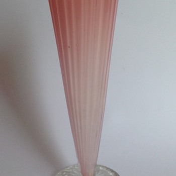 Victorian pale pink cased glass vase with applied circular foot - early Loetz? - Art Glass