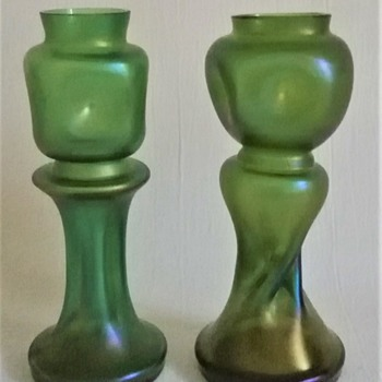 Welz Green Iridescent Vases - Art Glass