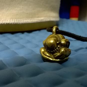 Little Bronze Yogi Weeping Buddha Pendant, Thrift Shop Find 95 Euro Cents ($1.01) - Costume Jewelry