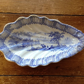 Antique Blue & white pickle dish? Serving tray - China and Dinnerware