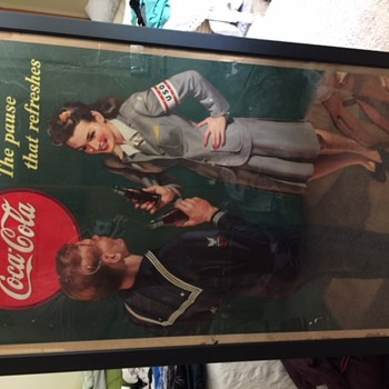 1943 Coca-Cola cardboard sign with Sailor and U.S.O. Girl - Coca-Cola