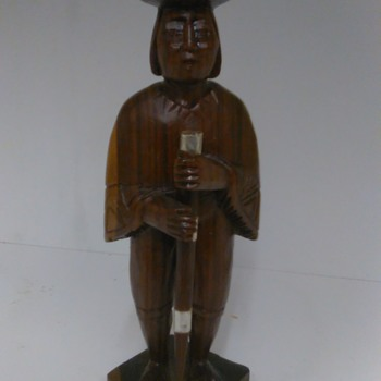 Two hand carved wood figurines. Man has detachable spear. 6.75 inch tall - Figurines