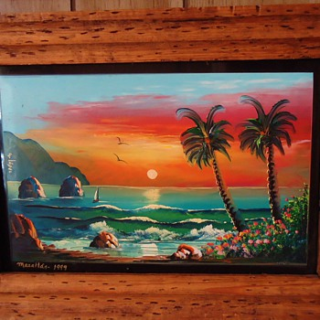 Mexico folk art- Finger Painting, Mazatlan, 1999 from thrift store $6 on glass and nice frame - Folk Art