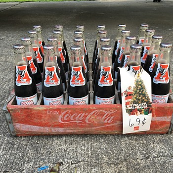 Paul Bear Bryant Coke bottles in original Coca Cola wooden crate - Coca-Cola