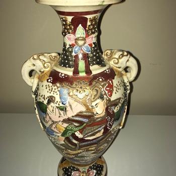 Grandma's Japanese Scened Vase - Pottery