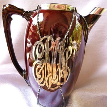 Sterling silver mounted pottery pitcher - Pottery