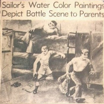 Grandfather's WWII combat artwork newpaper articals - Military and Wartime