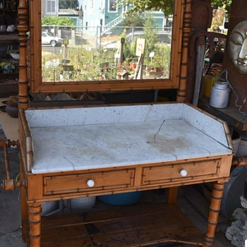 Extra Large Dry Sink with Mirror - Faux Bamboo - Furniture