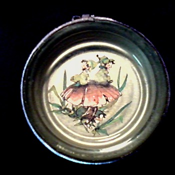 "4"" Glass and Metal Coaster or Tray / Pixie and Toadstool Design with Purple Velvet Trim/ Unknown Maker and Age - Glassware"