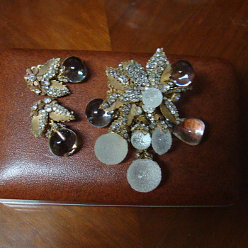 This is my favorite Miriam Haskell Brooch and Matchings E/R Set-Houston TX 1984 - Costume Jewelry