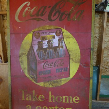 5'x8' Monster Coca-Cola 1939 3 panel tin sign