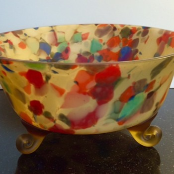 "Bohemian ""End-of-Day"" Spatter Glass Bowl - Art Glass"