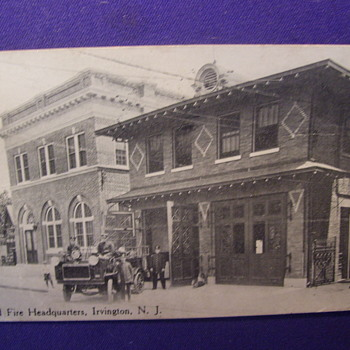 POLICE & FIRE STATION, YOUR 1914 Defenders AT THE READY,IRVINGTON,NJ - Photographs