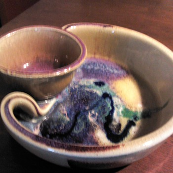 Studio Art Pottery Chip and Dip Signed - Pottery