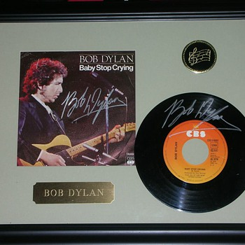 Baby Stop Crying Autographed Bob Dylan 45 rpm Record Sleeve & Record  - Records