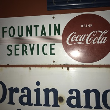1940's Coca Cola Fountain Service sign  - Coca-Cola