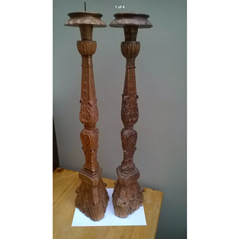 Monumental pair of 17th/18th Century Italian Altar Sticks - Furniture