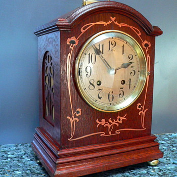 Oak Bracket  Clock with Copper Art Noveau Inlay