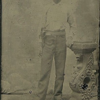 Tintype of a Cross-Draw Left-Handed Cowboy - Photographs