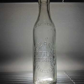 Dean's Bottling Works Soda Bottle Connesllville Pennsylvania Embossed Antique Vintage Clear 8 Ounces  - Bottles