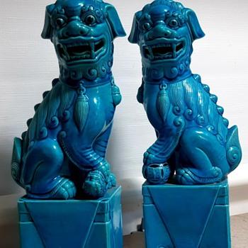 Turquoise Foo Dogs - Mid-Century Modern